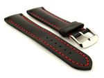 Padded Watch Strap Band CANYON Genuine Leather Black/Red 22mm