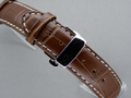 Leather Watch Strap CROCO Butterfly Clasp Dark Brown / White 22mm