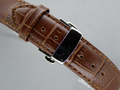 Leather Watch Strap CROCO Butterfly Clasp Dark Brown / Brown 18mm