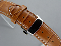 Leather Watch Strap CROCO Butterfly Clasp Brown / White 20mm