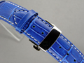 Leather Watch Strap CROCO Butterfly Clasp Blue / White 20mm