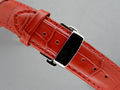 Leather Watch Strap CROCO Butterfly Clasp Red / Red 18mm