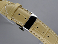 Leather Watch Strap CROCO Butterfly Clasp Ivory 20mm