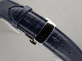 Leather Watch Strap CROCO Butterfly Clasp Navy Blue 18mm