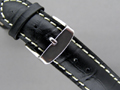 Leather Watch Strap CROCO Black 20mm