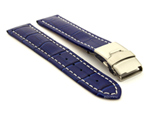 Genuine Leather Watch Strap Croco Deployment Clasp Blue / White 20mm
