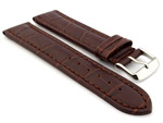Leather Watch Strap CROCO RM Dark Brown/Brown 28mm