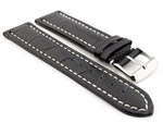 Leather Watch Strap CROCO RM Navy Blue/White 28mm
