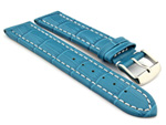 Leather Watch Strap CROCO RM Turquoise / White 28mm