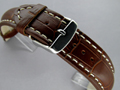 Leather Watch Strap CROCO VIP Dark Brown 20mm