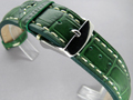 Leather Watch Strap CROCO VIP Green 24mm
