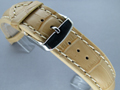 Leather Watch Strap CROCO VIP Dark Cream 18mm