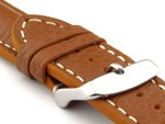 Padded Watch Strap Genuine Leather FREIBURG VIP Brown/White 22mm