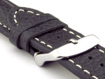 Padded Watch Strap Genuine Leather FREIBURG VIP Black/White 22mm