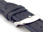 Padded Watch Strap Genuine Leather FREIBURG VIP Navy Blue/Blue 22mm