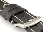 Genuine Leather Watch Strap CROCO GRAND PANOR Black/White 20mm