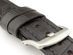 Genuine Leather Watch Strap CROCO GRAND PANOR Black/Black 22mm