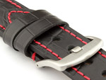 Genuine Leather Watch Strap CROCO GRAND PANOR Black/Red 24mm