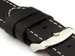 24mm Black/White - HAVANA Genuine Leather Watch Strap / Band