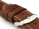 24mm Dark Brown/White - HAVANA Genuine Leather Watch Strap / Band