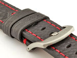 Replacement WATCH STRAP Luminor Genuine Leather Black/Red 26mm