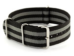 NATO G10 Watch Strap James Bond Military Nylon Divers (3 rings) Black/Grey 20mm