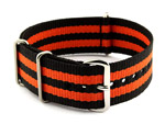 NATO G10 Watch Strap Military Nylon Divers (3 rings) Black/Orange 20mm