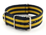 NATO G10 Watch Strap Military Nylon Divers (3 rings) Blue/Yellow 22mm