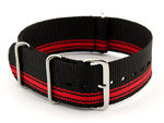 NATO G10 Watch Strap Military Nylon Divers (3 rings) Black/Red (A) 22mm