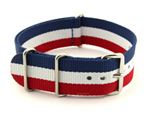 NATO G10 Watch Strap Military Nylon Divers 3 rings Blue/White/Red (France) 24mm