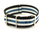 NATO G10 Watch Strap Military Nylon Divers 3 rings Black/White/Blue (5) 24mm