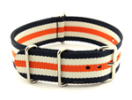 NATO G10 Watch Strap Military Nylon Divers 3 rings N.Blue/White/Orange (5) 20mm