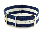 NATO G10 Watch Strap Military Nylon Divers 3 rings Blue/White (3) 22mm
