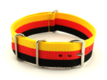 NATO G10 Watch Strap Military Nylon Divers 3 rings Black/Red/Gold (Germany) 20mm