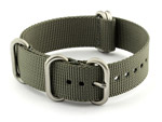 18mm Grey - Nylon Watch Strap / Band Strong Heavy Duty (4/5 rings) Military