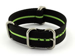 18mm Black/Green - Nylon Watch Strap/Band Strong Heavy Duty(4/5 rings) Military