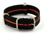 18mm Black/Orange - Nylon Watch Strap/Band Strong Heavy Duty(4/5 rings) Military