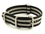 NATO Nylon Watch Strap Strong Heavy Duty 4/5 rings Military Black/Grey (JB) 18mm