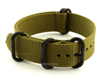 22mm Olive Green - Nato Nylon Watch Strap Strong Heavy Duty (4/5 rings) PVD