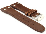 Genuine Leather Watch Strap PILOT fits IWC Dark Brown 22mm