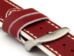 Genuine Leather Watch Band PORTO Red/White 18mm