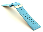 18mm Sky Blue/White - Genuine Leather Watch Strap / Band RIDER, Perforated