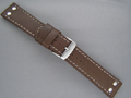 Leather Watch Strap AVIATOR Style Dark Brown 20mm