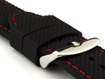 16mm Black/Red - Silicon Watch Strap / Band with Thread, Waterproof