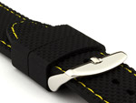 22mm Black/Yellow - Silicon Watch Strap / Band with Thread, Waterproof
