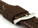 16mm Brown/White - Silicon Watch Strap / Band with Thread, Waterproof