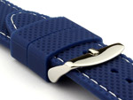 16mm Blue/White - Silicon Watch Strap / Band with Thread, Waterproof
