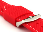 16mm Red/White - Silicon Watch Strap / Band with Thread, Waterproof