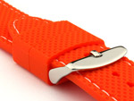 16mm Orange/White - Silicon Watch Strap / Band with Thread, Waterproof