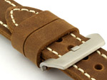 26mm Brown/White - Genuine Leather Hand-Stitched Watch Strap/Band SIRIUS